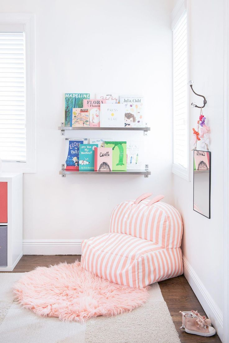 Toddler Reading Nook With The Cutest Pink Stripe Bean Bag Chair