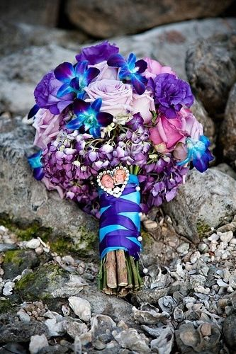 Purple pink blue wedding flower bouquet