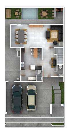 Planos de Casas y Plantas Arquitectónicas de Casas y Departamentos: Plano de Residencia con tres recámaras cada una con baño y vestidor