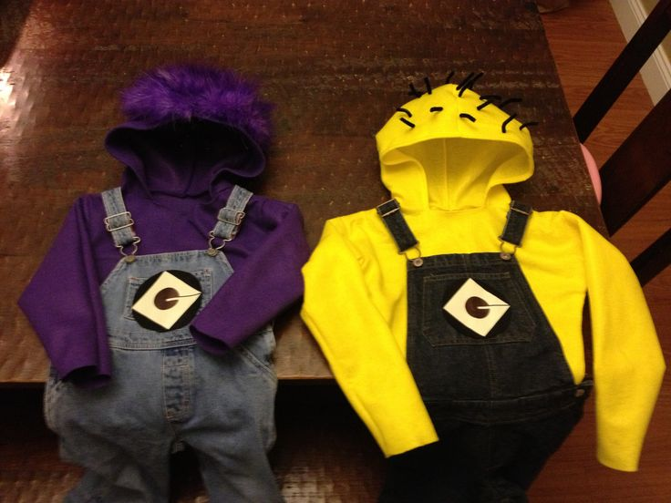My DIY yellow and purple minion costumes for the boys.