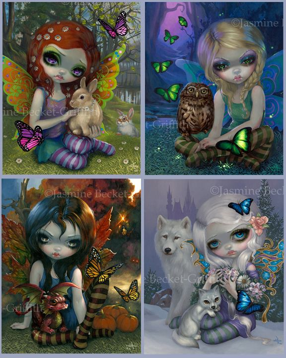 The Four Seasons seasonal fairy print set by Jasmine Becket-Griffith 4 seasons big eye fairy art summer, autumn, spring, winter fairy artwork by Strangeling