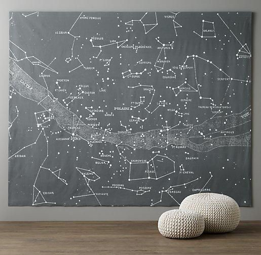 Art/wall Decor - This oversized tapestry maps out the night's sky, including constellations both big and small.