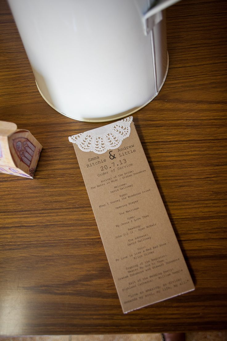 Doily wedding orders of service