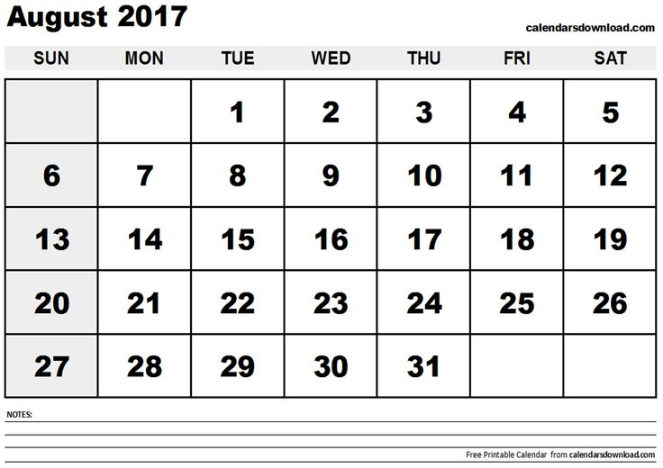 2017 August  Calendar Template  http://socialebuzz.com/august-2017-calendar-printable-template/