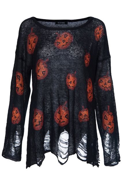 Halloween Pumpkins Print Black Jumper at Romwe