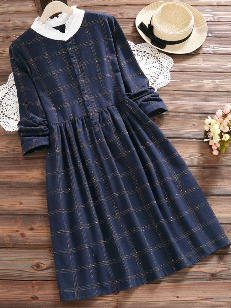 Tidebuy Button Plaid Herbst Damen A-Line Kleid