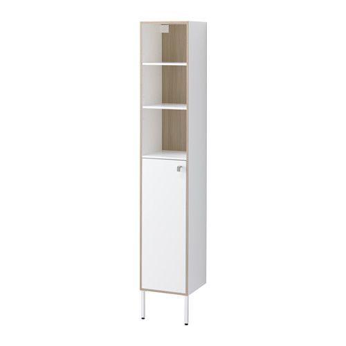 TYNGEN High cabinet, white, ash effect white/ash effect 11 3/4x11 3/8x69 5/8