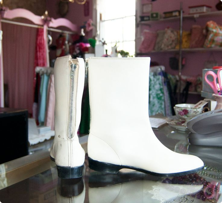 white go go boots, had a pair in the 60's after much pleading!