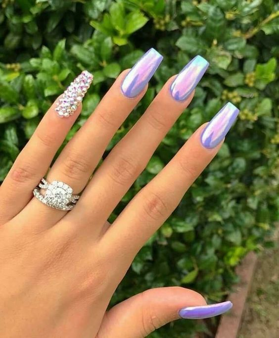 Copycat Claws Blue Color Block Nail Art: 42 Coffin Acrylic Nail Ideas With Different Colors That