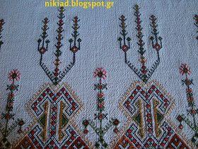 Παραδοσιακό σχέδιο για τραπεζομάντηλο κεντημένο σταυροβελονιά   Traditional tablecloth cross stitch pattern       Κάνετε κλικ εδώ για ...