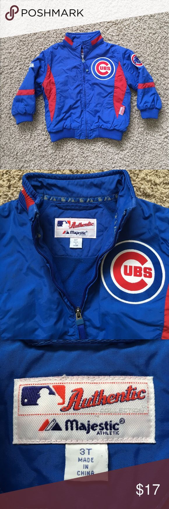 Chicago Cubs winter jacket World Series Chicago Cubs winter jacket, size 3T, by MLB Majesctic.  Item is free of rips, stains and other major flaws.  Considered in EUC. ALL OF OUR ITEMS COME FROM A SMOKE FREE HOME ***visit our eBay store, Joebooh2 resale, where we combine shipping on multiple purchases***  Bid with confidence as we have a perfect 100% feedback rating dating back to 1999. Majestic Jackets & Coats