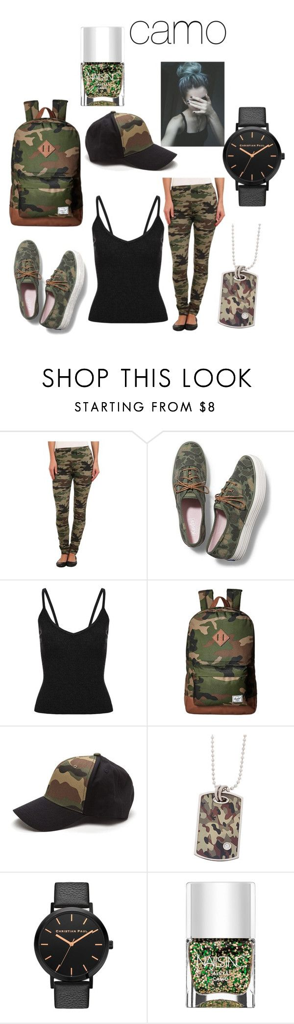 """cute camo outfit"" by polarbear786 on Polyvore featuring Plush, Keds, Herschel Supply Co. and Nails Inc."
