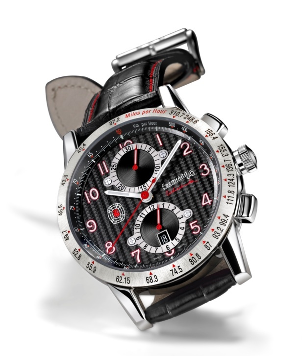 Tazio Nuvolari Data. Ref. 31066.1  Mechanical automatic winding chronograph, 43 mm steel case, sapphire glass anti-reflective, screw-in crown, caseback fixed by 8 screws, crocodile strap, steel buckle - 18mm. Optional: deployment clasp Déclic