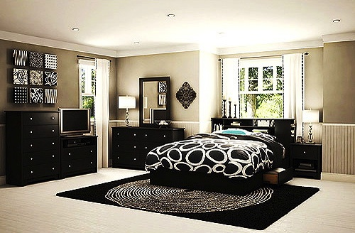 Bedroom paint color: Bedrooms Sets, Black Furniture Bedrooms Ideas, Bedroom Sets, South Shore, Bedrooms Dressers, Shore Vito, Master Bedrooms, Queens Bedrooms, Gray Bedrooms Black Beds