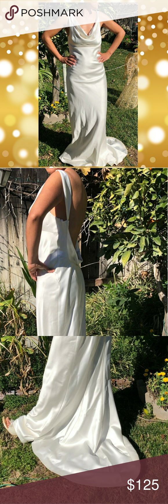 Wedding Dress Pearled Long Straight Wedding Dress Handcrafted wedding dress. Used just after wedding for a couple of hours in the reception. Beautiful...