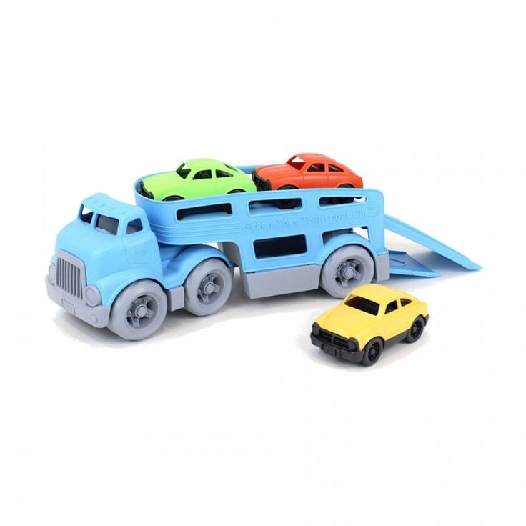 Camion Porteur pour enfant fabriqué à partir de plastique recyclé de la marque américaine Green Toys, couleurs imprimées à l'encre de soja