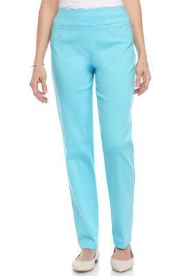 Ruby Rd Women's Petite Key Items Millennium Stretch Pant - Breeze Blue - 12P