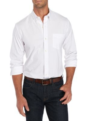 Saddlebred Men's Long Sleeve Tailored Oxford Shirt - White - 2Xl