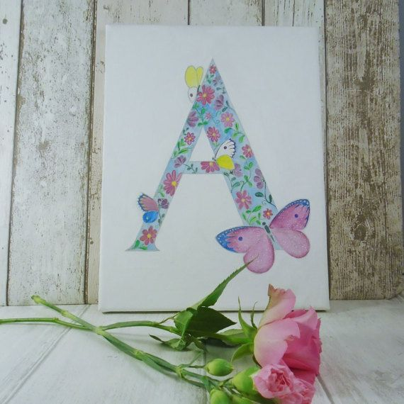 Hand painted Flowers and Butterflies A4 letter canvas, initial canvas, butterfly name gift, nursery wall art, baby girl christening gift