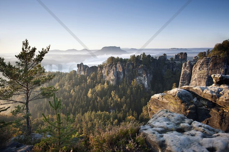 Morning at the Bastei - Fototapeter & Tapeter - Photowall