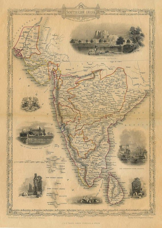 Old Map Of India 1851 Southern Old India Map Indian Wall Decor Etsy Old Map India Map Vintage Wall Art