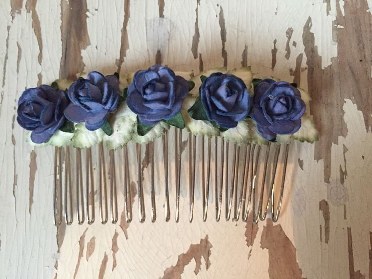 Indigo/Navy Blue Paper Flower Roses Hair Comb by SunshinePieCreations on Etsy https://www.etsy.com/listing/262696900/indigonavy-blue-paper-flower-roses-hair