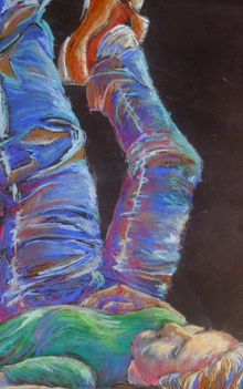 Pastel figure drawing with live model