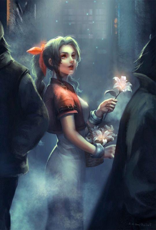 Wow Aerith / Aeris Gainsborough looking stunning in her Final Fantasy VII outfit. Amazing art. #Videogames #Playstation