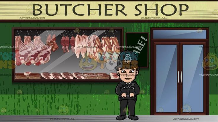 A British Male Police Patrol Officer At Exterior Of A Butcher Shop:  A man with brown hair wearing a black bowler hat with gray badge black jacket with black and white checkered accent pants and shoes utility belt smirks while placing his gripping his belt with his hands. Set in outside a butcher shop where there is meat hanging in the window and a sale sign on the wall next to the front door.