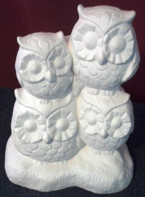 I have a cute ceramic Owl Family figurine that was made by https://www.etsy.com/shop/MagicalMud that I can paint any colors. Let me know on my FB page that you will be directed to by clicking on the picture.