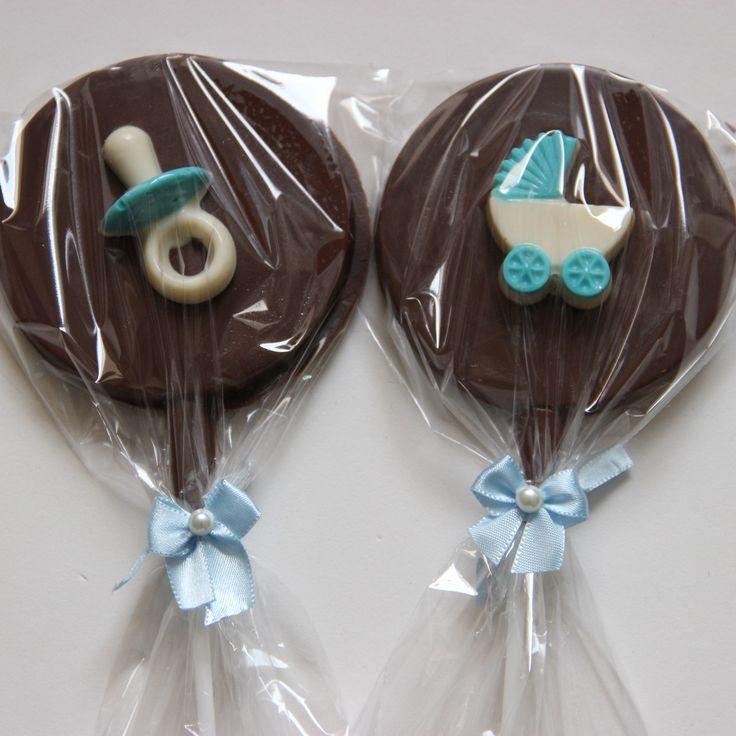Pirulito personalizado de chocolate - lembrancinha de chá de bebê para menino.