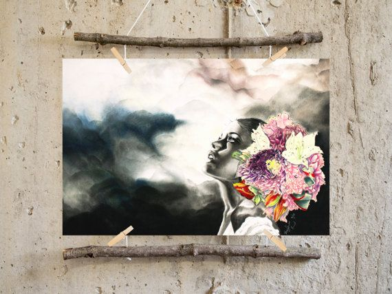 Hey, I found this really awesome Etsy listing at https://www.etsy.com/listing/236967497/flower-headdress-art-print-the-road-is