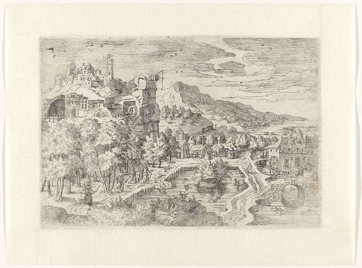 anoniem | Landschap met vrouwen op jacht, attributed to Battista Angolo del Moro, c. 1550 - c. 1570 | Weids landschap met links een rots met pittoreske huisjes en torentjes. Een kraan met katrol is geplaatst tegen de rotswand. Links voor een bos met enkele vrouwenfiguren op jacht (mogelijk Diana en haar nimfen). In het midden ligt een vijver en stroomt er rechts een riviertje met aan de oever een hoeve met watermolen. Aan de horizon een gebergte met huisjes en obelisken.