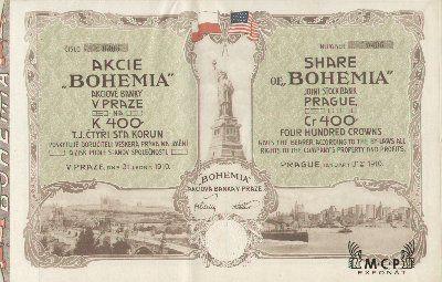 Muzeum cennych papiru A1585 BOHEMIA akciová banka v Praze 1910