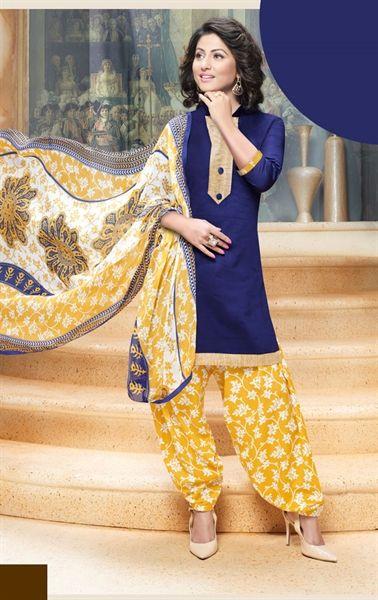 Picture of Luscious Navy Blue Cotton Patiala Salwar Kameez