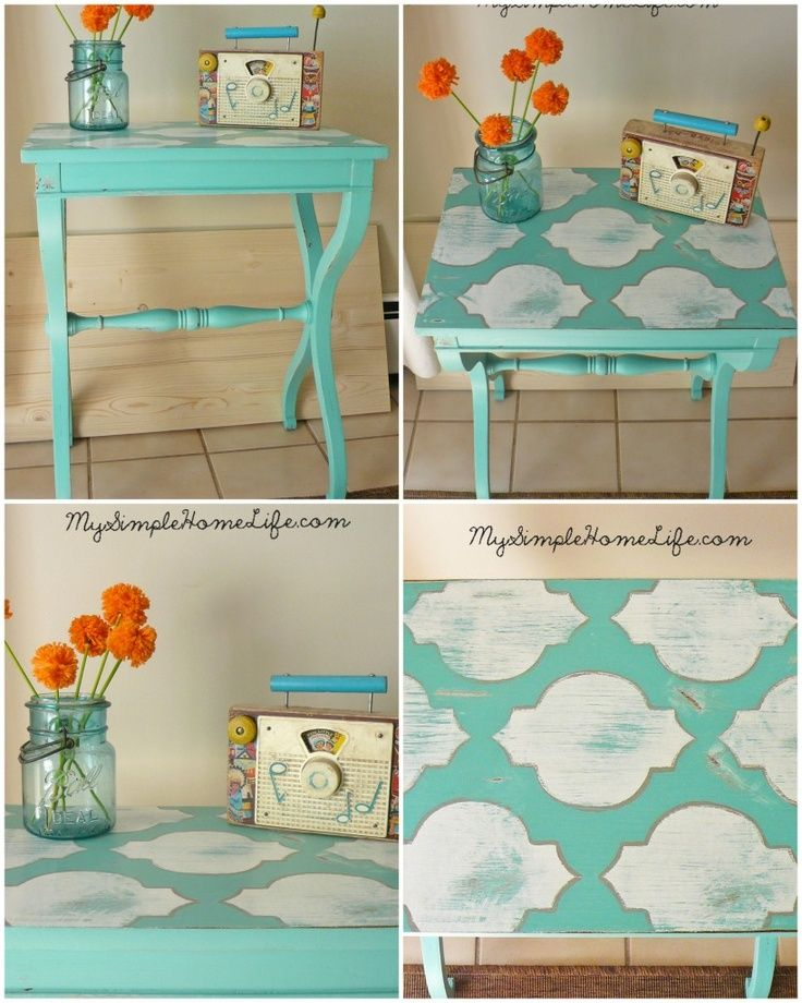 Buy cheap tv stands and paint them! I could totally do this with ours.