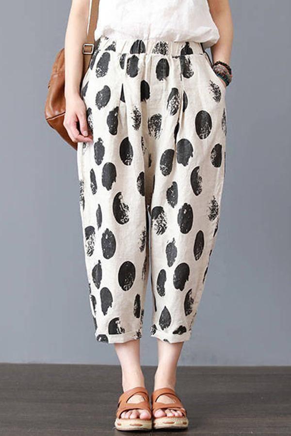 Women Casual Cotton Linen Dots Print Long Trousers Summer Loose Crop Harem Pants