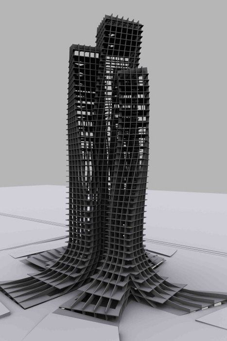 """""""Trans-city: Nomadic Corporations"""" from an architecture design exhibition in Dubai featuring student works."""