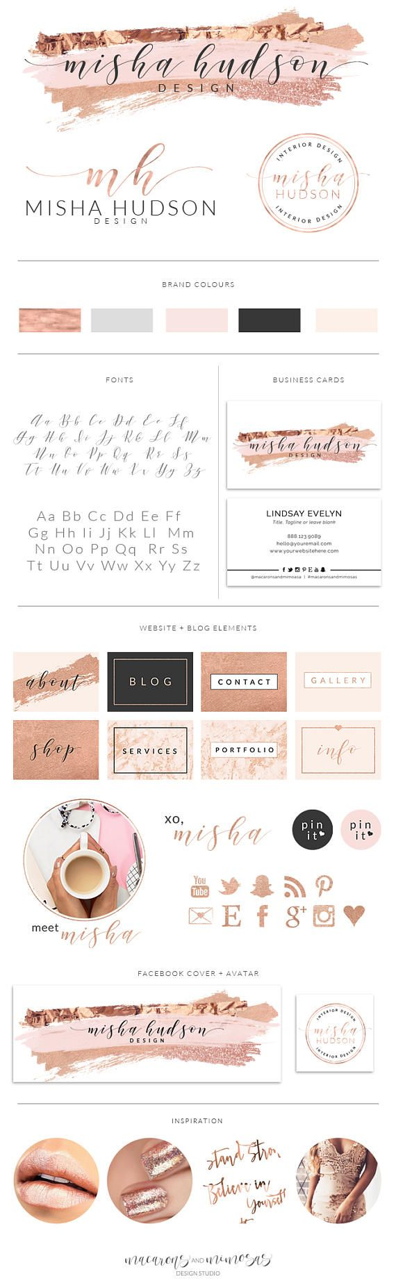 Pre made branding kits are the perfect solution to polish your brand professionally, at a super affordable price! The are perfect for photographers, interior designs, event & wedding planners, small business and boutiques, makeup artists, bloggers and more. ❥❥❥❥ WHAT IS INCLUDED
