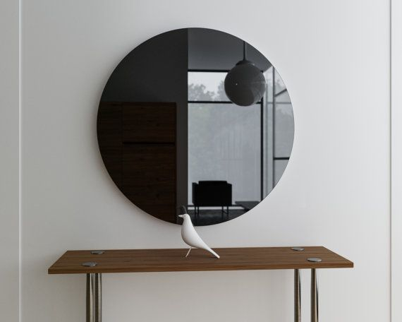Black wall mirror. Round MidCentury inspired by MirrorCooperative