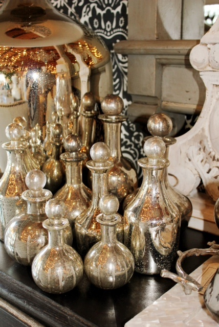 Mercury glass decanters