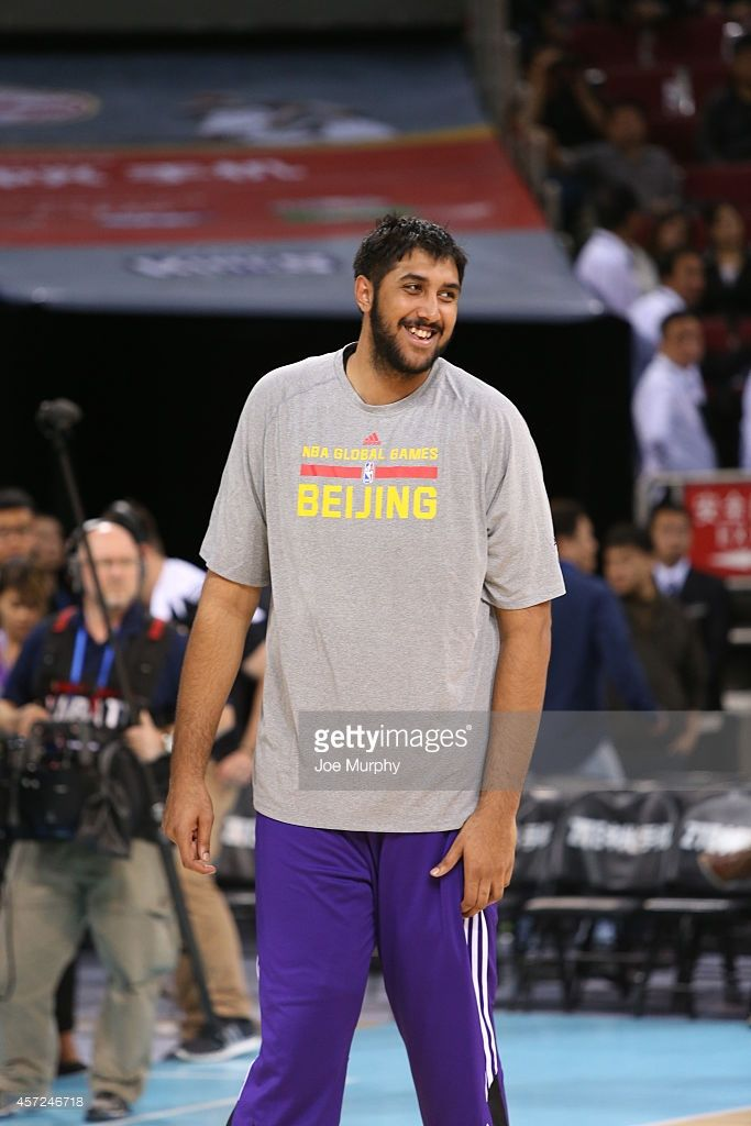 Sim Bhullar #32 of the Sacramento Kings warms up before the game against the Brooklyn Nets as part of the 2014 NBA Global Games at the MasterCard Center on October 15, 2014 in Beijing, China.