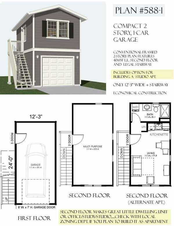 Carriage lane way house art studio and vrbo on top floor One car garage plans