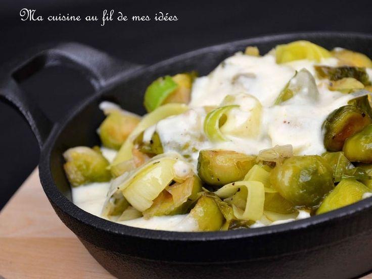 Recette de Poêlée de choux de Bruxelles et poireaux, béchamel au curry
