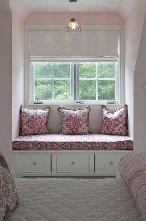 Nightingale Design: Pretty pink and gray girls' bedroom for two with built-in window seat covered in pink ...