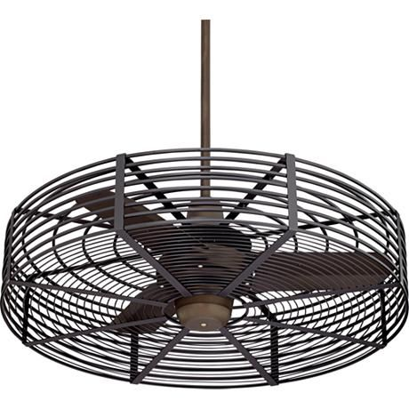 A damp-rated ceiling fan with an updated industrial cage design.