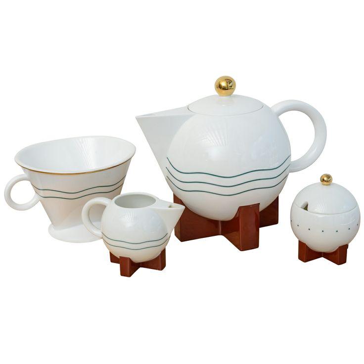 1stdibs.com | Michael Graves Postmodern Tea Set & Strainer By Swid & Powell