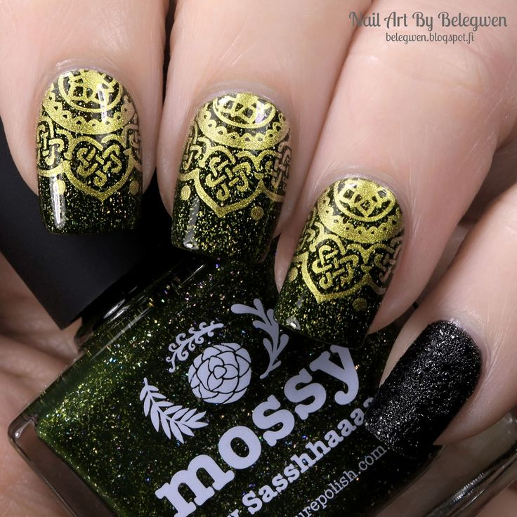 Nail Art By Belegwen: Picture Polish Mossy and OPI Emotions