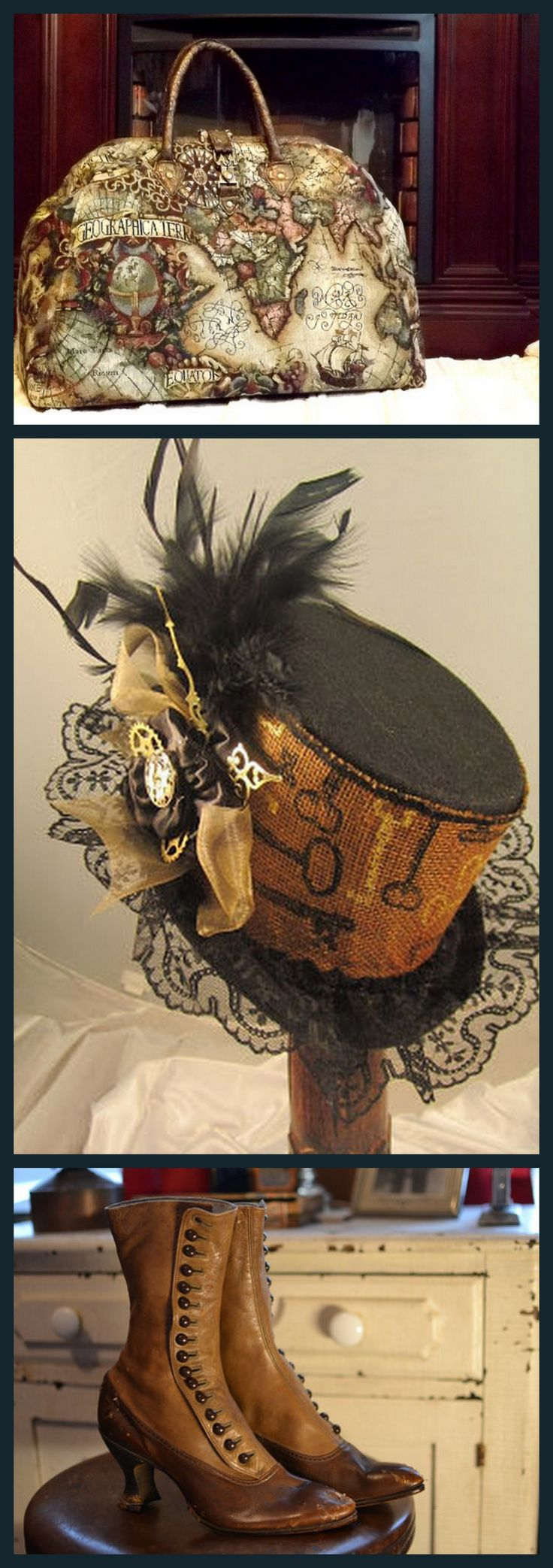 Time Traveler!  Find these delicious items here:  Mary Poppins Style Steampunk Carpet Bag:  https://www.etsy.com/listing/220868692/mary-poppins-style-steampunk-carpet-bag  Steampunk Top Hat:  https://www.etsy.com/listing/246850081/steampunk-top-hats-steampunk-shop  Edwardian Steampunk Boots:  https://www.etsy.com/listing/215528285/edwardian-steampunk-ladies-button-up-two