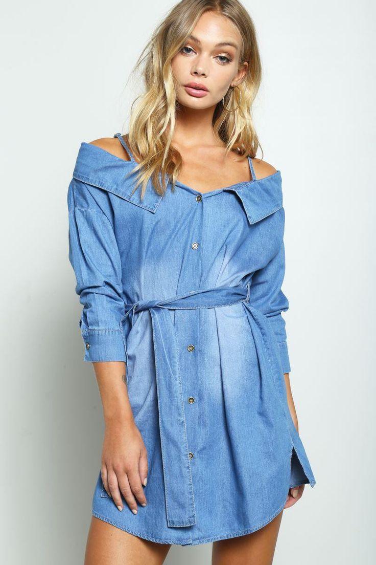 New York New York Cold Shoulder Denim Mini Dress